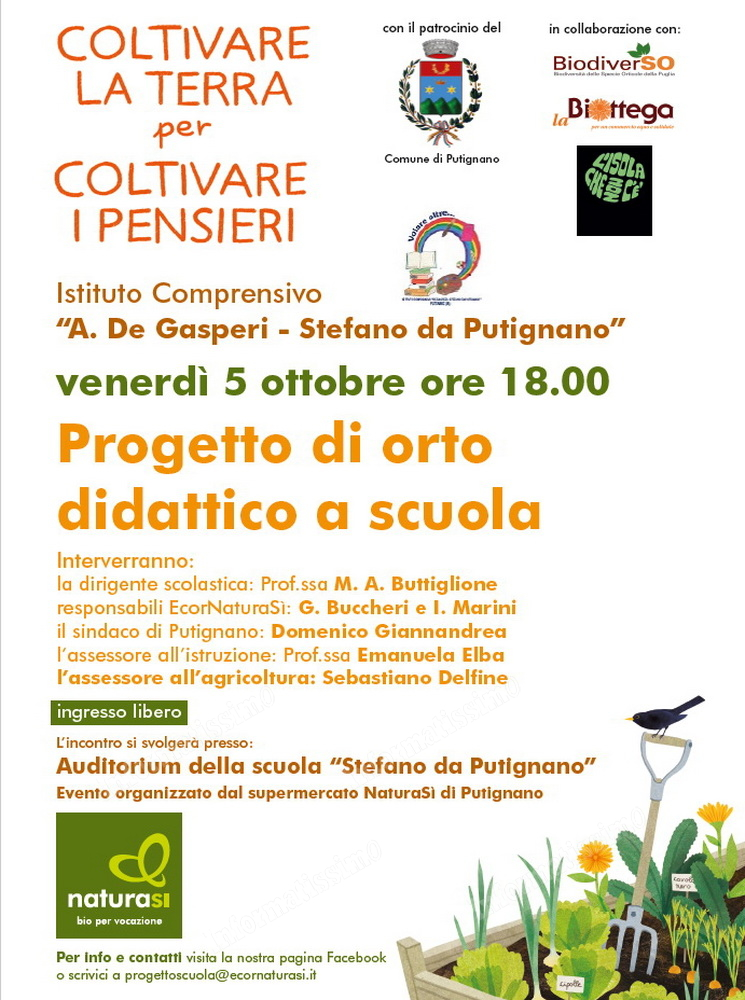 """Orto Didattico a Scuola. Presentazione del progetto alla """"Stefano da Putignano"""""""