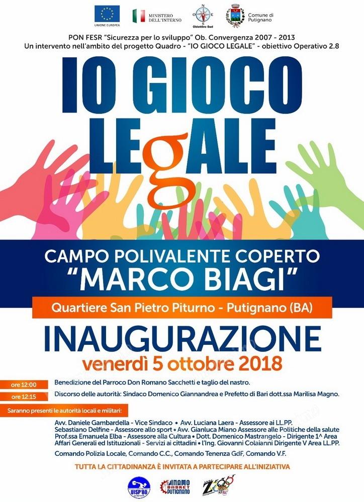 """Putignano - Inaugurazione del campo polivalente """"Marco Biagi"""""""